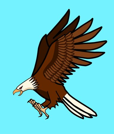 The eagle is about to fly down to catch the prey. Illustration
