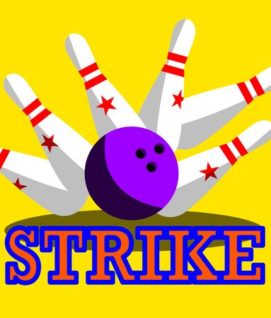 Ball bowls hit all falling pins and strike.
