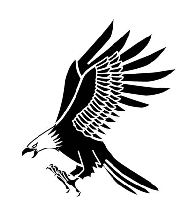 The image of an eagle, white and black Illustration