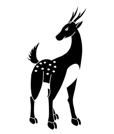 The picture of a black and white deer