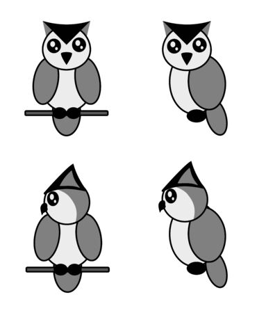 Four cute owls on a white background