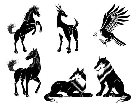 Set of six black and white animal images.