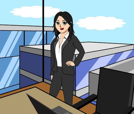 Businesswoman standing in the office. Vector illustration in a flat style.