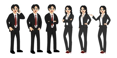 Six images of business men and women with white background. Illustration