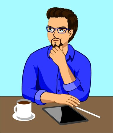 A man who is thinking while working at a desk with a tablet and a coffee cup Stock Vector - 129847401