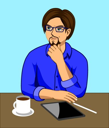 A man who is thinking while working at a desk with a tablet and a coffee cup
