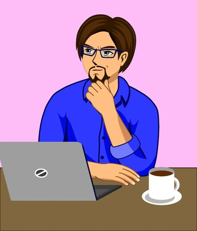 A man who is thinking while working at a desk with a laptop and a coffee cup. Illustration