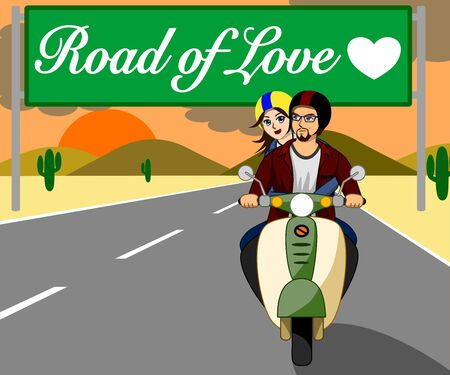 The couple are riding a motorbike together happily on the beautiful love road at sunset.