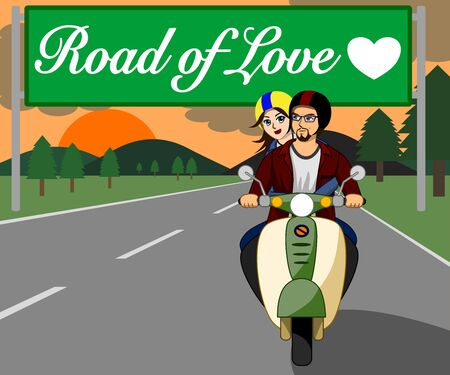 The couple are riding a motorbike together happily on the beautiful love road at sunset. Foto de archivo - 129847412
