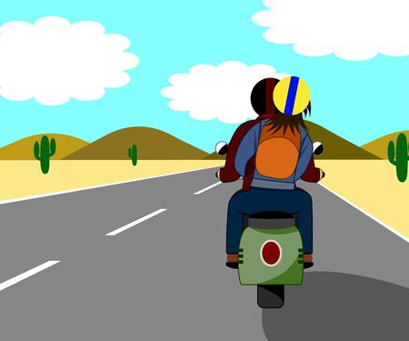 The couple are riding a motorbike, traveling happily on the beautiful love road. Both sides were desert.
