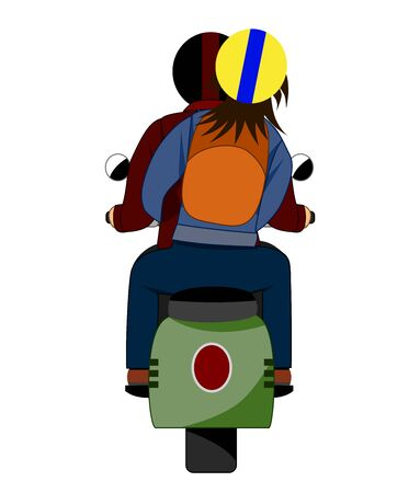 The back of a couple who ride a motorcycle. Иллюстрация