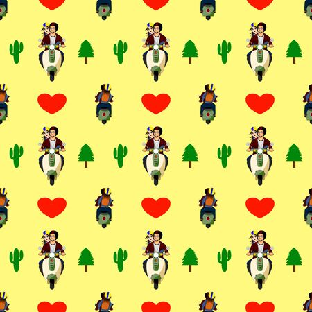 Pattern,  lovers riding a motorcycle and having a heart and a yellow background.