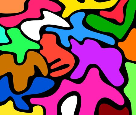 Patterns of various colors with a black background