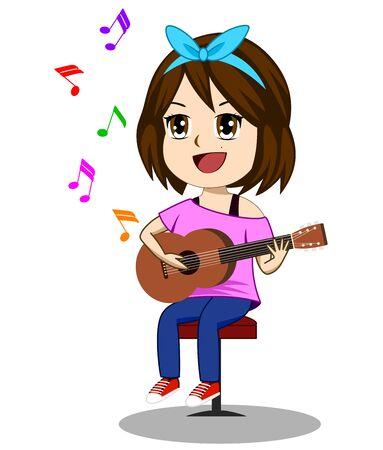 Ilustración de vector de chicas lindas tocando la guitarra y con la nota flotando arriba y con un fondo blanco Ilustración de vector