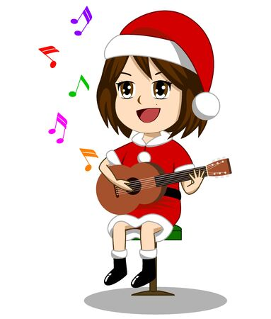 The girl is wearing Santa Claus outfit. Playing guitar and singing Christmas and New Years songs. Çizim