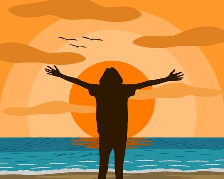 Vector illustration of a woman who is standing extend the arms feel liberated The mood and happy  on the beach. In the evening the setting sun Orange sky The sea is blue there is a gentle wave.