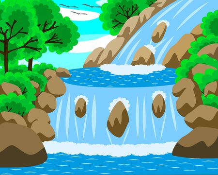 Vector illustration of beautiful water fall. The water is blue and looks clean. There are stones and trees around. In the middle of the day the sky is bright. It is a beautiful natural image.