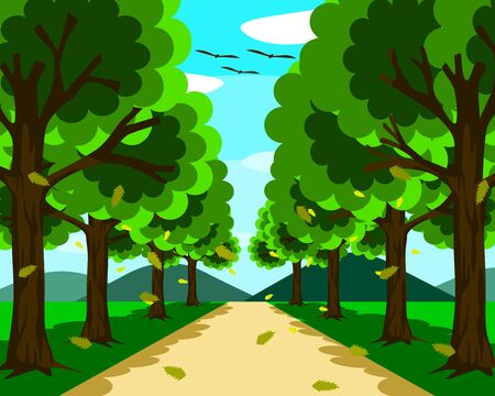 A small, beautiful road surrounded by nature. On both sides there are trees with leaves falling. In front there were mountains and blue sky at day time.  イラスト・ベクター素材
