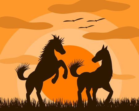 Vector illustration of two horse lovers Playing happily in the fields at sunset. It is a picture that shows beautiful love. Reklamní fotografie - 132755892
