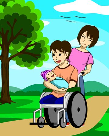 A disabled man with torn legs. He is sitting in a wheelchair and carrying his child. And there is a wife to take care of beside. In a garden with good weather. Such a happy family. Illustration