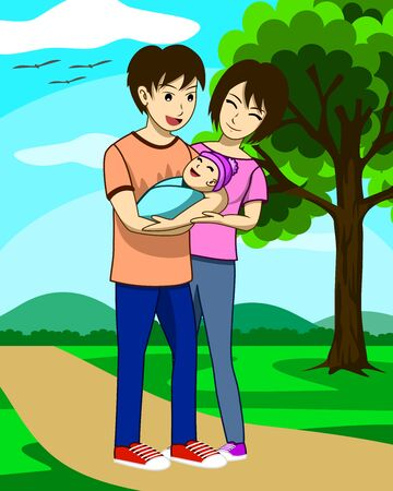 Husband, wife, and newly born child are walking in the park.  The father is carrying the child and the mother is standing beside. Everyone are happy.  It is an image that shows the love of the family Ilustração