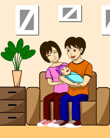 Husband, wife and children. The father is carrying the child with the mother, she is sitting beside her husband and her children. Both were sitting on the sofa in the living room of their house. Иллюстрация