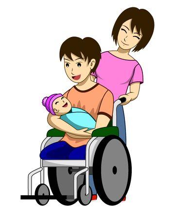 Ilustración de vector de esposo, esposa e hijo recién nacido, el padre lleva al niño y la madre está de pie al lado. Todos están felices. Es una imagen que muestra el amor de la familia. Ilustración de vector