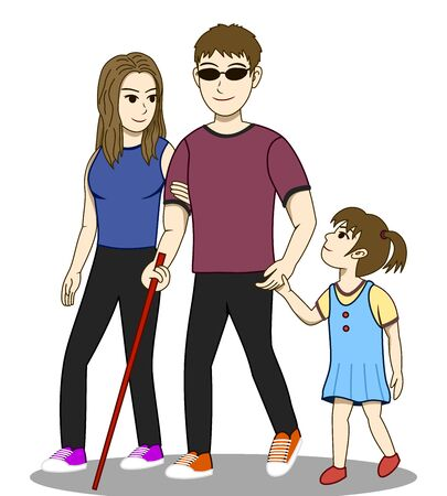 Vector illustration of Blind man and his family are walking together. His wife and his daughter take care and guide him. Everyone look happy. Its a lovely family image.