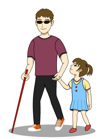 Vector illustration of Blind man and his daughter are walking together. His daughter take care and guide him. Both look happy. Its a lovely family image. Illusztráció