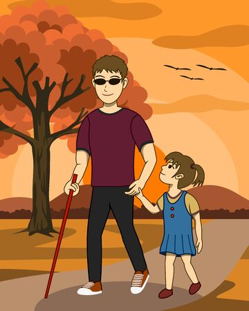 Vector illustration of Blind man and his daughter are walking together in a park at sunset. His daughter take care and guide him. Both look happy. Its a lovely family image. Illusztráció