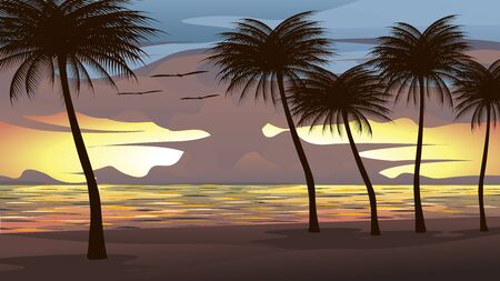 Background vector illustration of the beach, sea, sunset sky With coconut trees and birds flying. It is a beautiful natural picture. Иллюстрация
