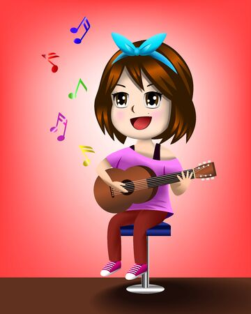 Vector illustration eps 10 of cute girl playing guitar and singing with the note floating above with brown floor and red background.
