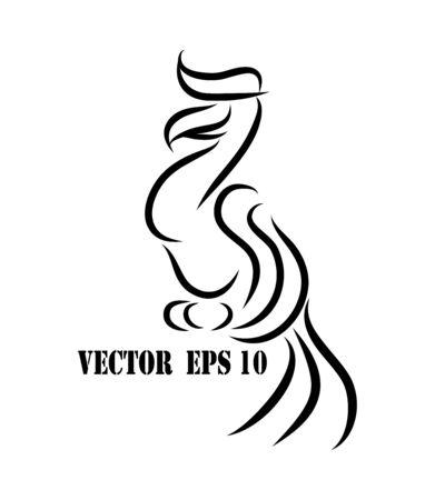 Line art vector logo of hornbill that is hanging on a branch. Logo
