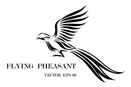 Line art vector logo of pheasant that is flying.