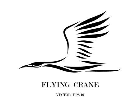 Line art vector logo of crane that is flying.