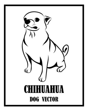 Black and white vector of Chihuahua dog. It is sitting. Illustration