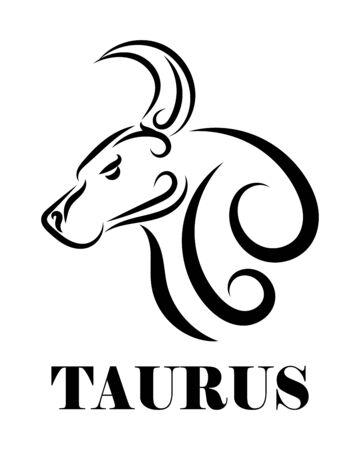 Line Vector Illustration of Bull. It is signs of the taurus zodiac.