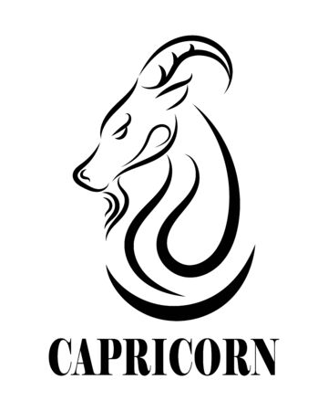 Black line vector  of goat head. It is sign of capricorn zodiac.
