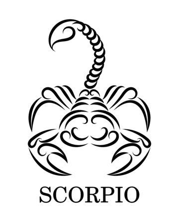 Black line vector  of a scorpion. It is sign of scorpio zodiac. Ilustração