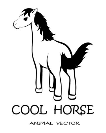 Black Vector illustration on a white background of a mustang horse.