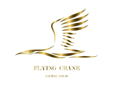 Gold line art vector logo of crane that is flying.