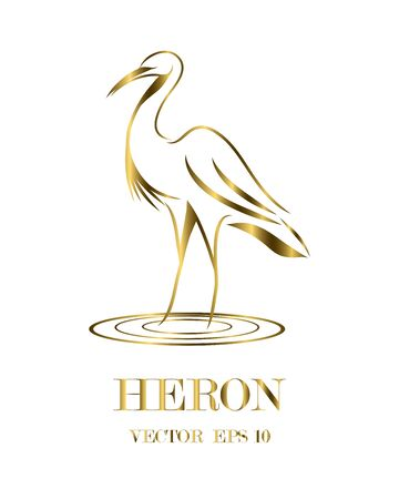 Golden line art vector logo of heron that is standing.