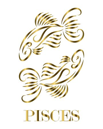 Golden line vector logo of two fish. It is sign of pisces zodiac.