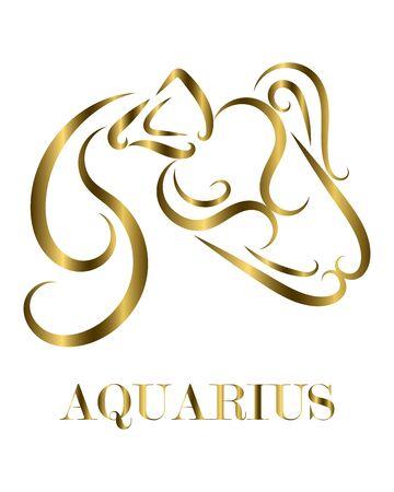 Golden line vector logo of Athlete. It is sign of Aquarius zodiac.