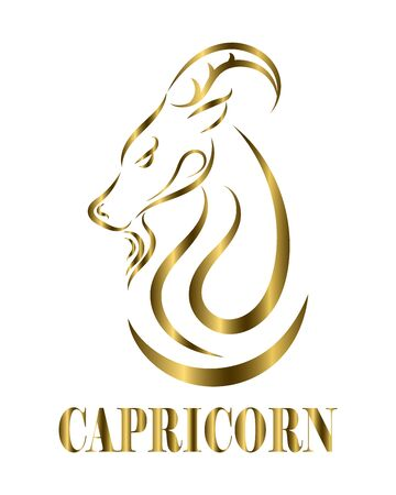 Golden line vector logo of goat head. It is sign of capricorn zodiac. Illustration