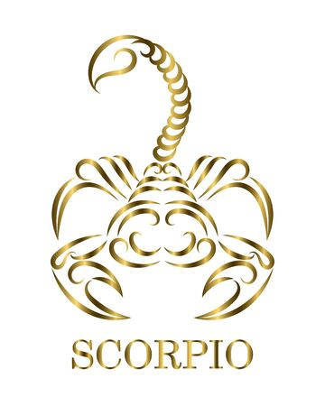 Golden line vector logo of a scorpion. It is sign of scorpio zodiac.