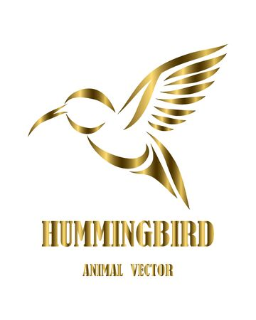Golden line art Vector illustration on a white background of flying hummingbirds. Suitable for making logos