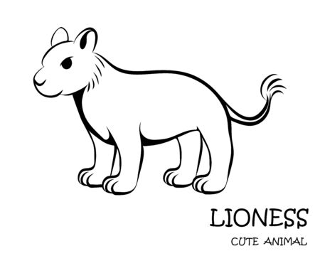Black Vector illustration cartoon on a white background of a cute lioness.