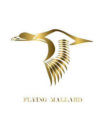 Golden line art vector logo of mallard that is flying. 向量圖像
