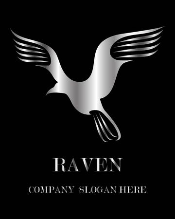Silver Vector illustration on a white background of a raven. Suitable for making logo. Vectores